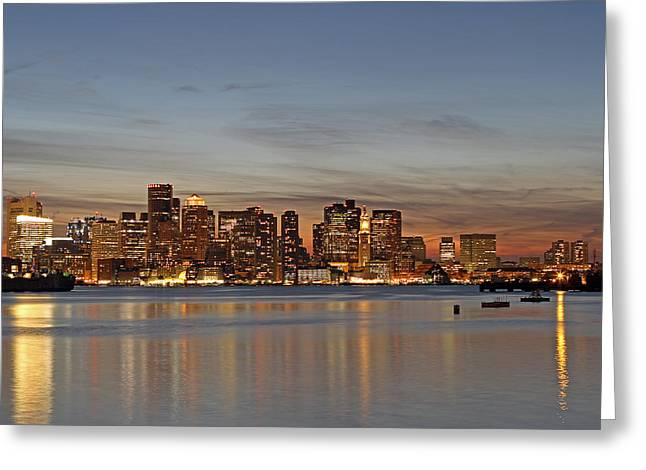 Boston Downtown Greeting Card by Juergen Roth