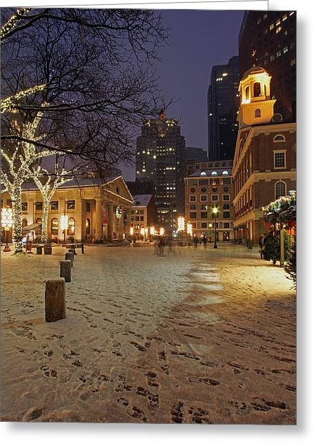 Boston Faneuil Hall And Quincy Market Greeting Card by Juergen Roth