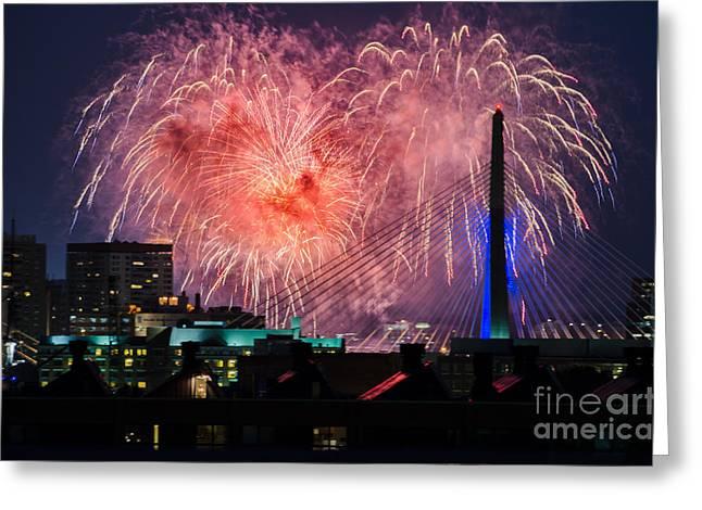 Boston Fireworks 1 Greeting Card
