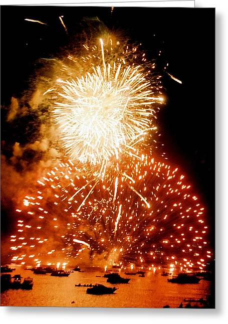 Boston Fireworks  A Burst On The Water Greeting Card by John B Poisson