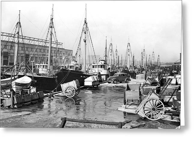 Boston Fishermen On Strike Greeting Card by Underwood Archives