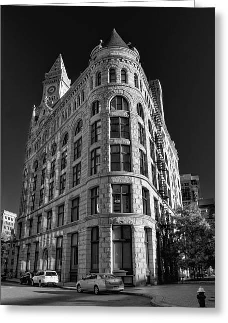 Boston Flour And Grain Exchange Bw Greeting Card by Joann Vitali