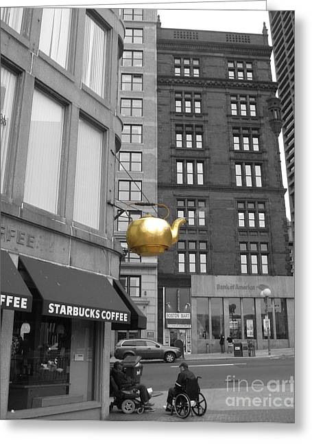 Greeting Card featuring the photograph Boston Golden Teapot by Cheryl Del Toro