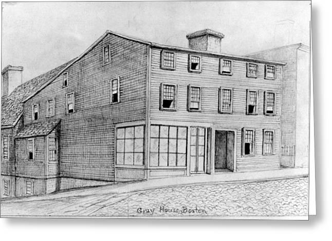 Boston Gray House Greeting Card by Granger
