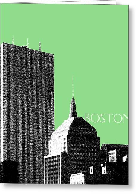 Boston Hancock Tower - Sage Greeting Card by DB Artist