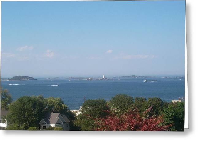 Greeting Card featuring the photograph Boston Harbor From Hull by Barbara McDevitt