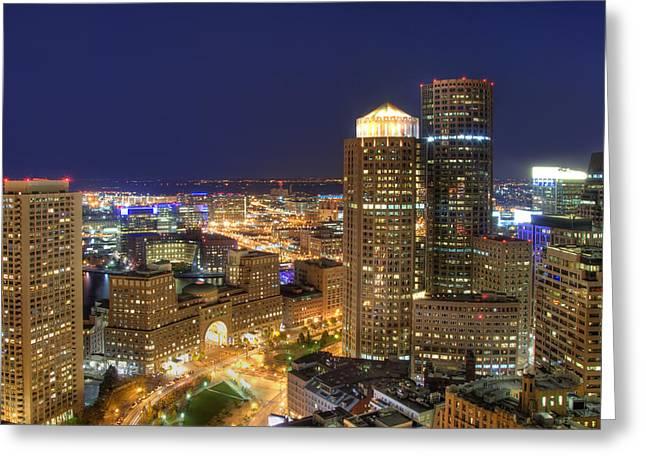 Boston Harbor Hotel Skyline Greeting Card by Joann Vitali