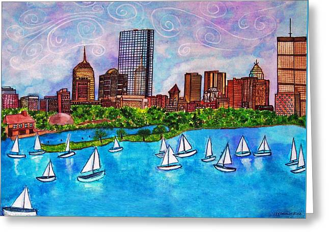 Boston Harbor Greeting Card by Janet Immordino