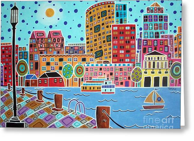 Boston Harbor Greeting Card by Karla Gerard