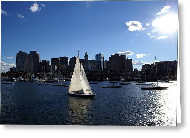 Boston Harbor Greeting Card by Olivier Le Queinec