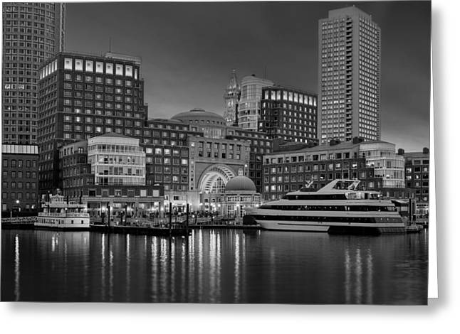Boston Harbor Skyline And Financial District Bw Greeting Card by Susan Candelario