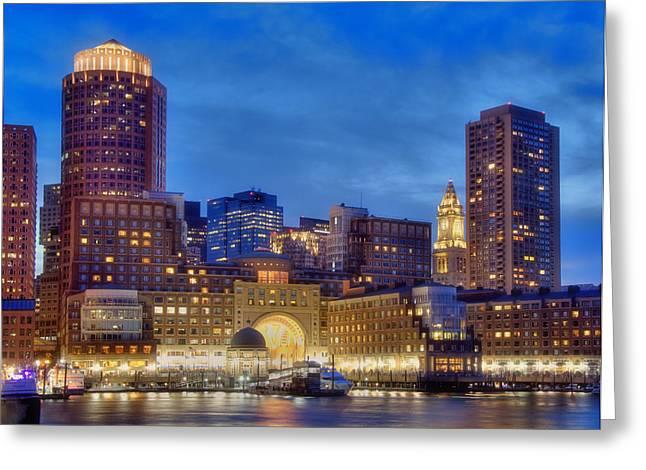 Boston Harbor Sunset 2 Greeting Card