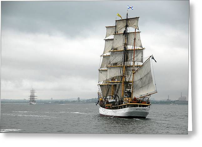 Boston Harbor Tall Ships Greeting Card by Peter Chilelli
