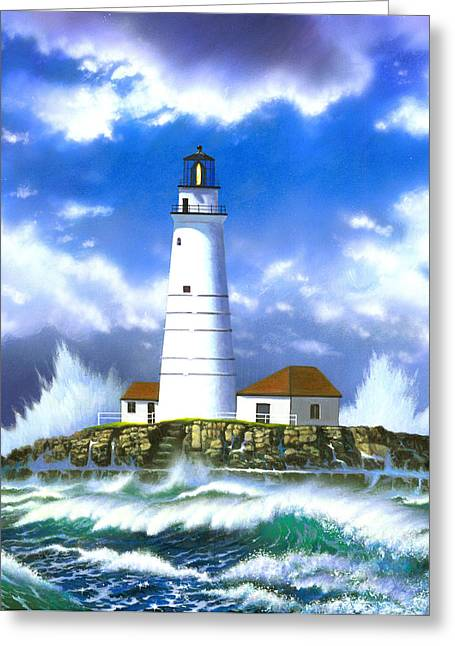 Boston Light Greeting Card by MGL Studio - Chris Hiett
