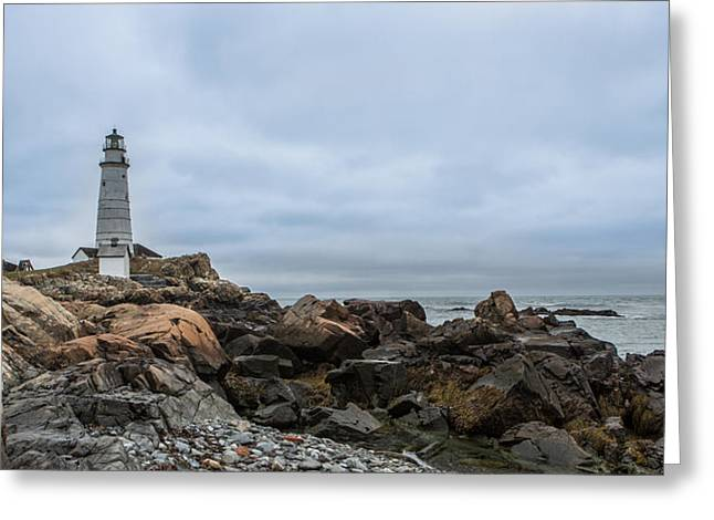 Boston Lighthouse On The Rocks Greeting Card