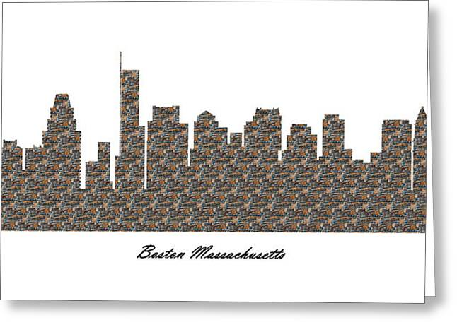Boston Massachusetts 3d Stone Wall Skyline Greeting Card