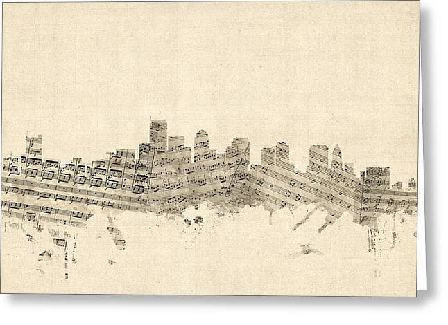 Boston Massachusetts Skyline Sheet Music Cityscape Greeting Card