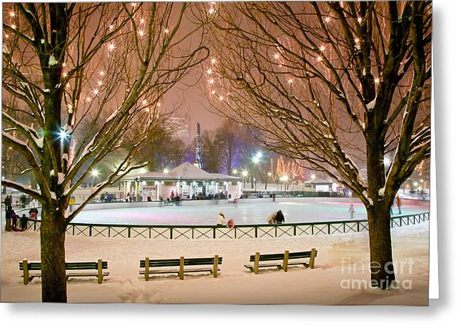 Boston New Year Skate Greeting Card by Susan Cole Kelly