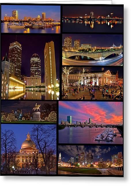 Boston Nights Collage Greeting Card by Joann Vitali