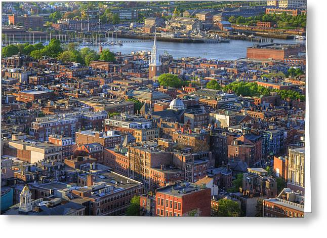 Boston North End Rooftops Greeting Card