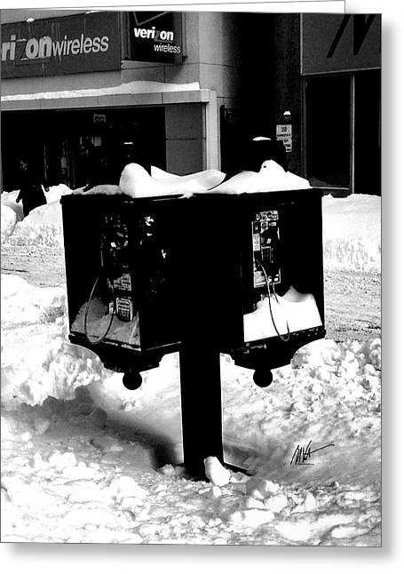 Boston - Payphones Abandonded In Snow Greeting Card
