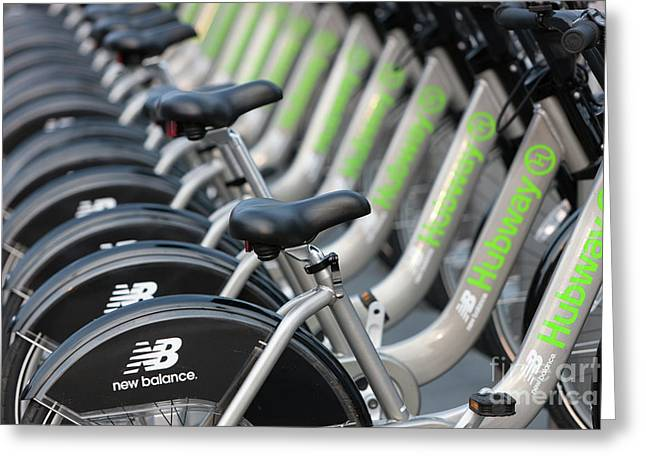 Boston Public Bikes I Greeting Card by Clarence Holmes
