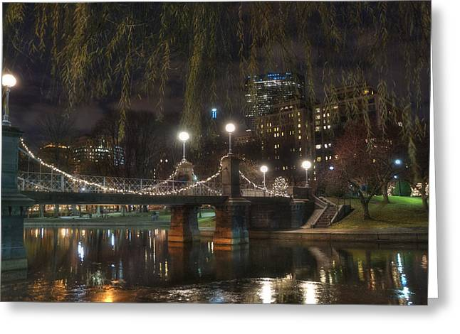 Boston Public Garden And Lagoon Bridge At Night Greeting Card