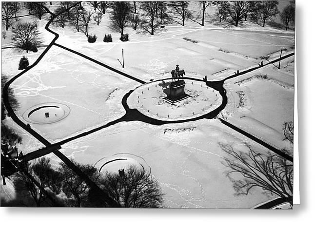 Boston Public Gardens Greeting Card by Underwood Archives