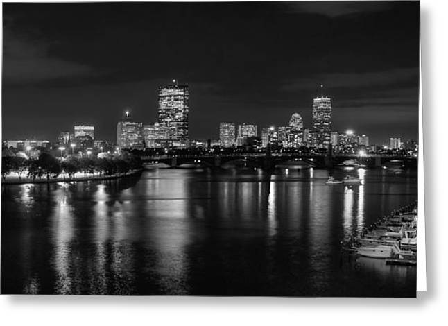 Boston Skyline - Black And White Greeting Card