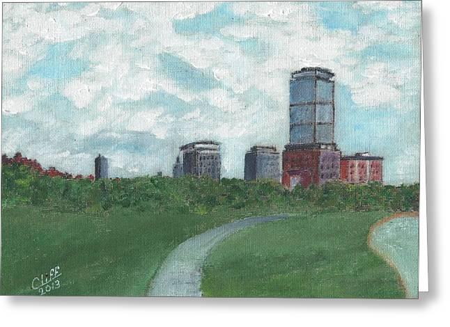 Boston Skyline 1968 Greeting Card by Cliff Wilson