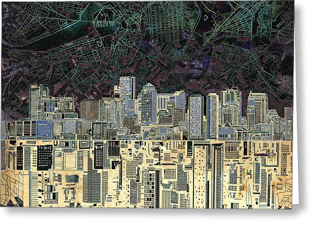 Boston Skyline Abstract Antique Greeting Card