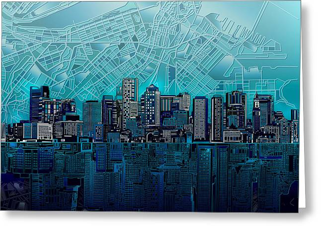 Boston Skyline Abstract Blue Greeting Card