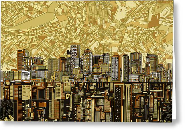 Boston Skyline Abstract Brown Greeting Card