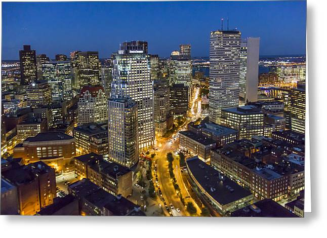 Boston Skyline At Night From The Sw Greeting Card by Dave Cleaveland