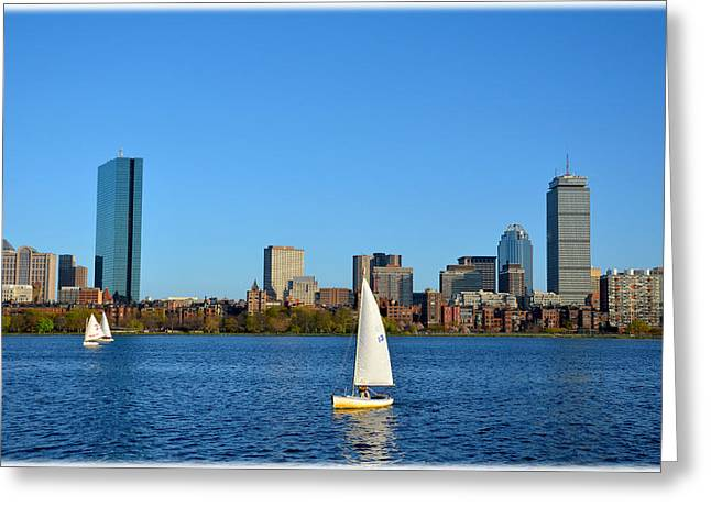 Greeting Card featuring the photograph Boston Skyline Back Bay View by Amanda Vouglas