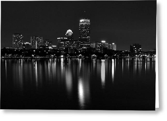 Boston Skyline By Night - Black And White Greeting Card