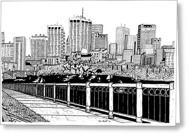 Boston Skyline Hatch Shell Greeting Card by Conor Plunkett