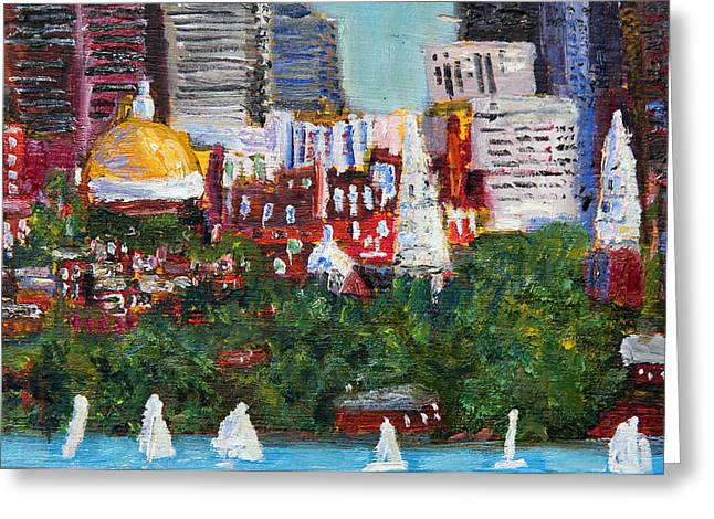 Boston Skyline Greeting Card by Michael Helfen