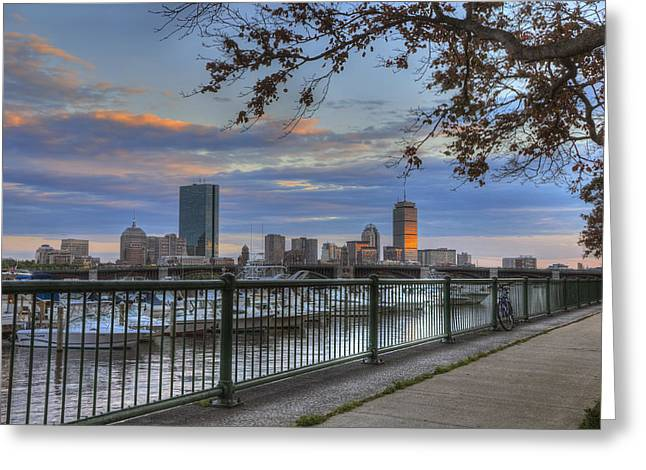 Boston Skyline On The Charles River Greeting Card