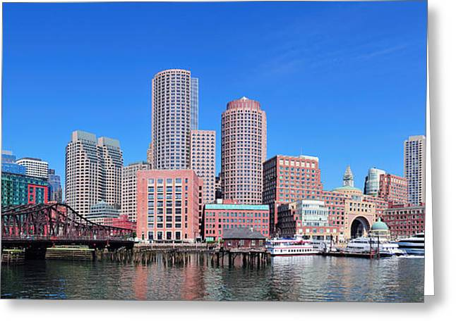 Boston Skyline Over Water Greeting Card