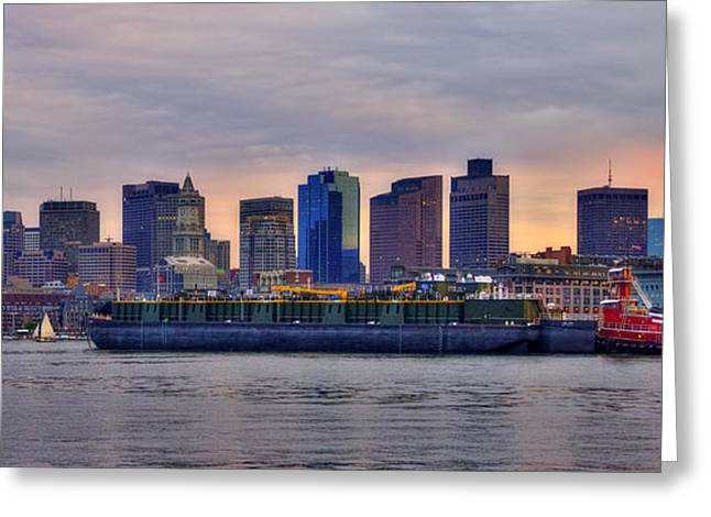 Boston Skyline Panoramic At Sundown Greeting Card by Joann Vitali