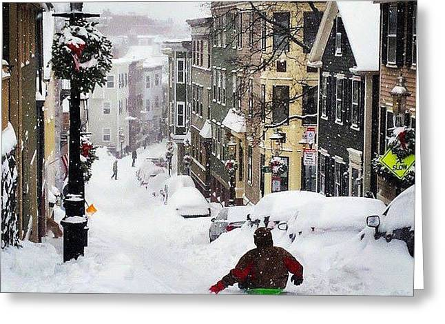Boston Snow Day Greeting Card by Sarah Levy