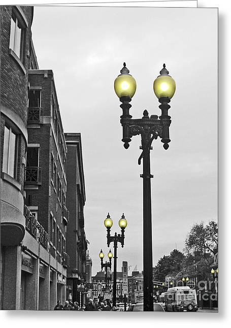 Greeting Card featuring the photograph Boston Streetlamps by Cheryl Del Toro