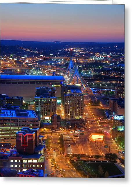 Boston Sunset Aerial View Greeting Card by Joann Vitali