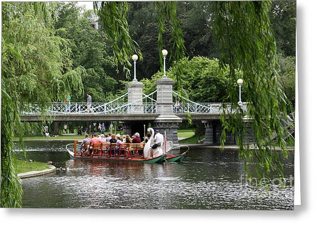 Boston Swan Boat Greeting Card by Christiane Schulze Art And Photography