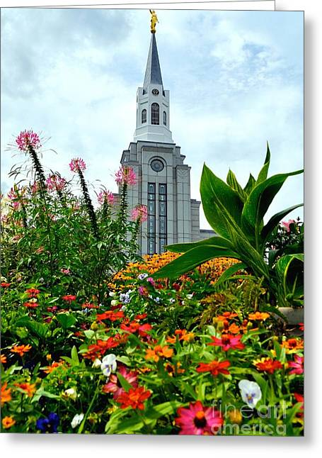 Boston Temple Greeting Card by Jenny Wood
