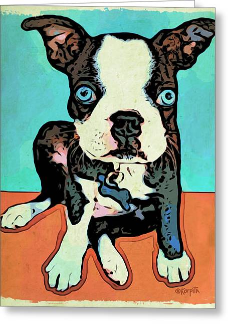 Boston Terrier - Blue Greeting Card by Rebecca Korpita