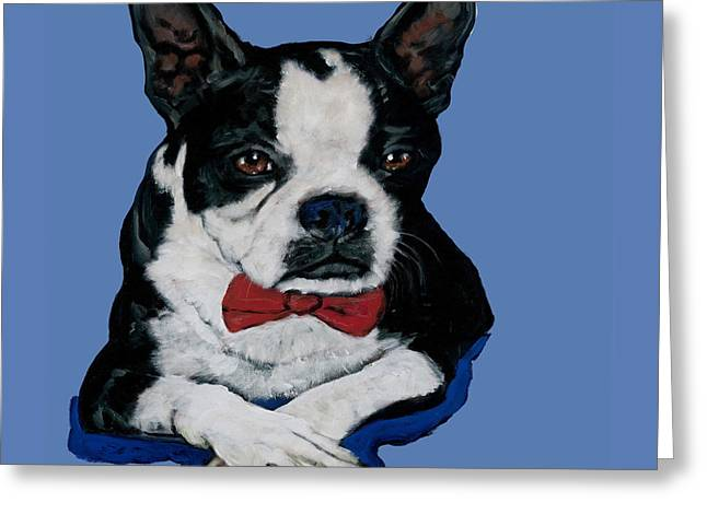 Boston Terrier With A Bowtie Greeting Card by Dale Moses