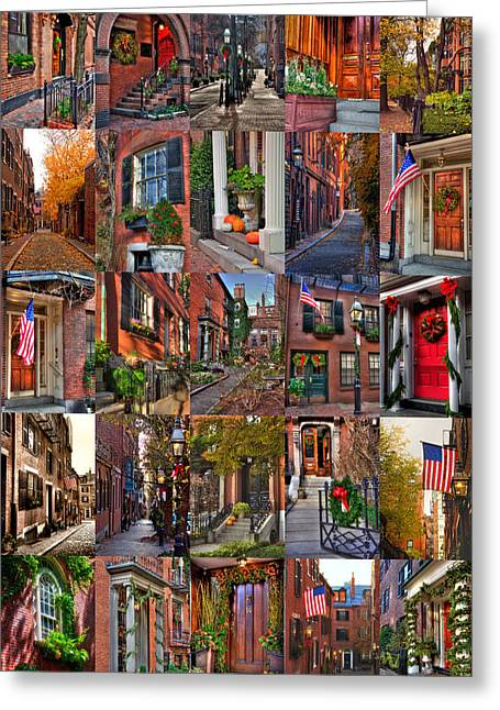 Boston Tourism Collage Greeting Card by Joann Vitali