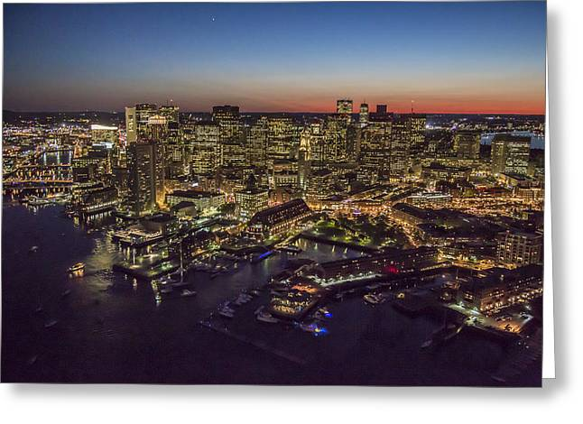 Boston Waterfront At Night. Greeting Card by Dave Cleaveland